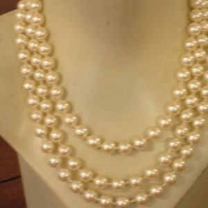 Triple Three Strands Faux Pearls